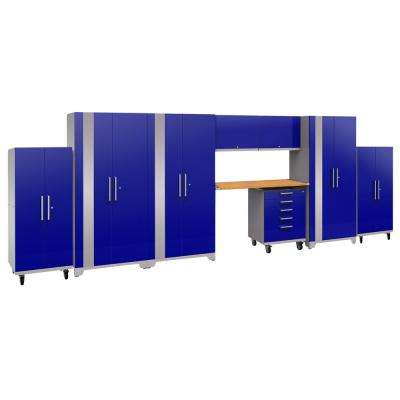 Performance Plus 2.0 80 in. H x 225 in. W x 24 in. D Steel Garage Cabinet Set in Blue (9-Piece) with Bamboo Worktop