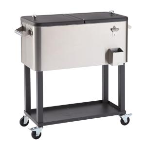 Trinity-100 Qt./25 Gal. Stainless Steel Wheeled Cooler with Shelf