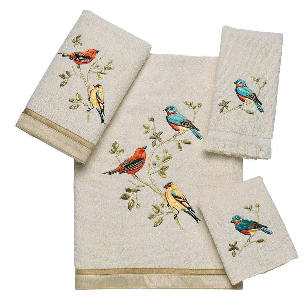 Gilded Birds 4-Piece Bath Towel Set in Ivory