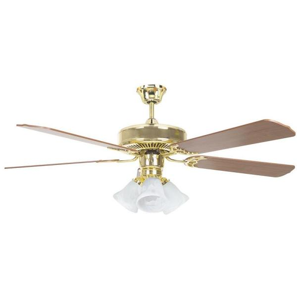 Tutor 52 in. Polished Brass Ceiling Fan with Light Kit and 5 Blades
