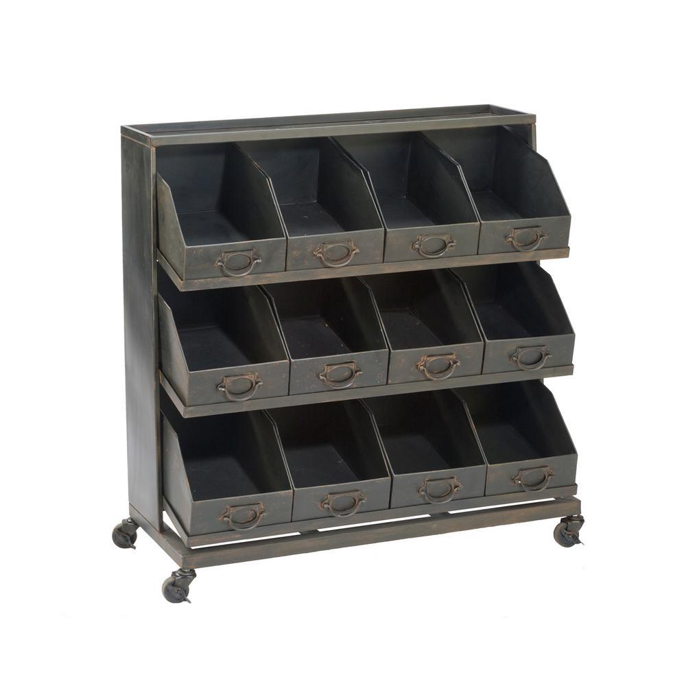 Industrial 3-Shelf Iron Wheeled Display Rack in Black