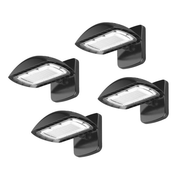 Multi-Purpose 350-Watt Equivalent Integrated LED Bronze Dusk to Dawn Flood with Wall-Pack, 5500 Lumen Light (4-Pack)