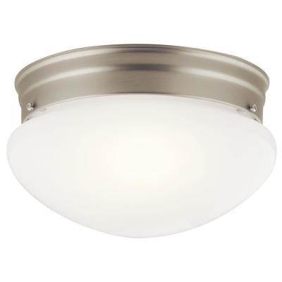 Ceiling Space 8.75 in. 2-Light Brushed Nickel Flush Mount Ceiling Light with White Globe