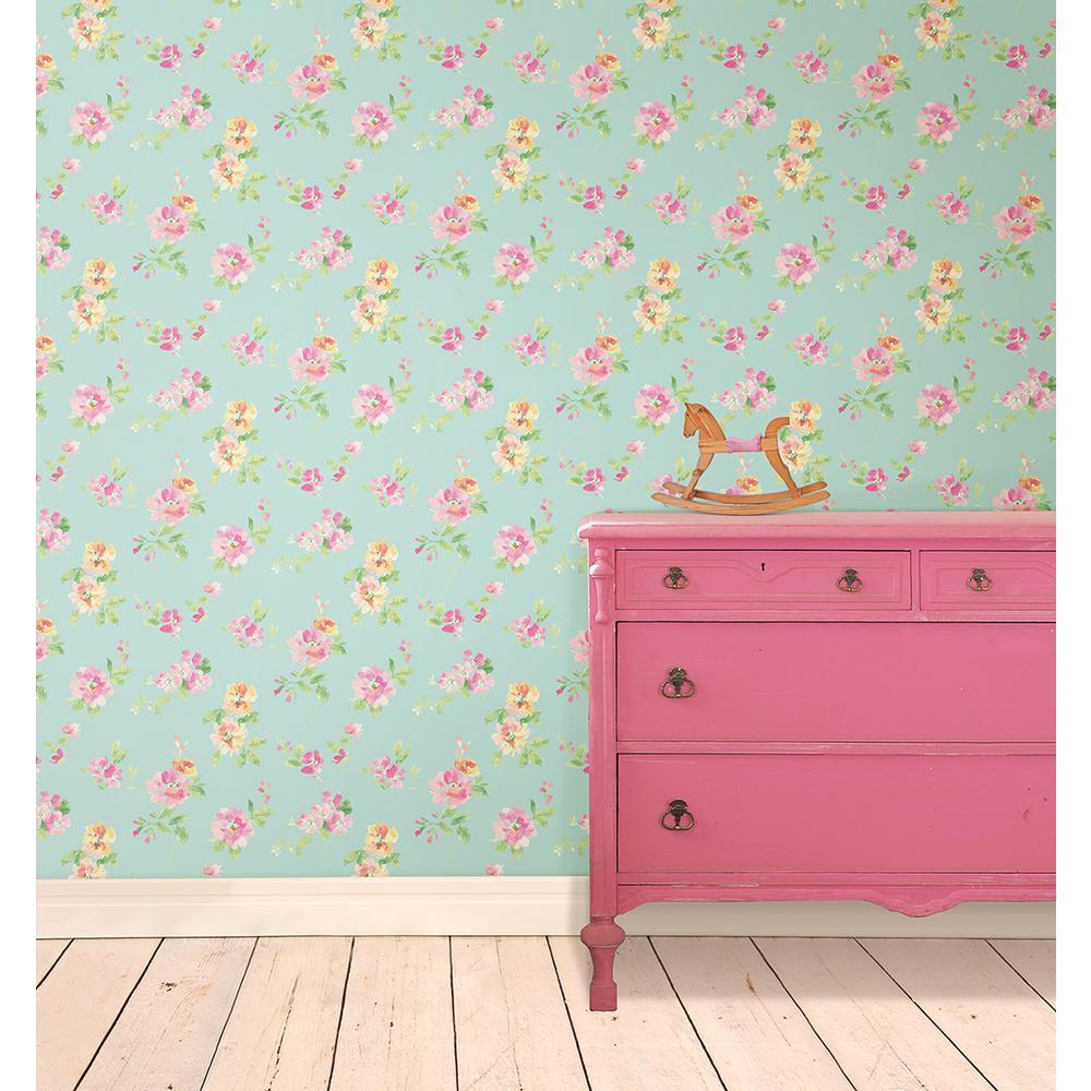 Captiva Aqua Floral Toss Wallpaper Sample