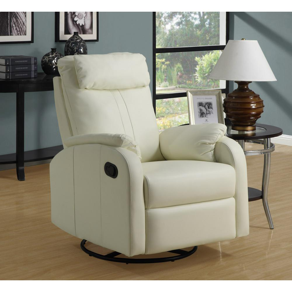 Superbe Monarch Specialties Ivory Bonded Leather Swivel Recliner
