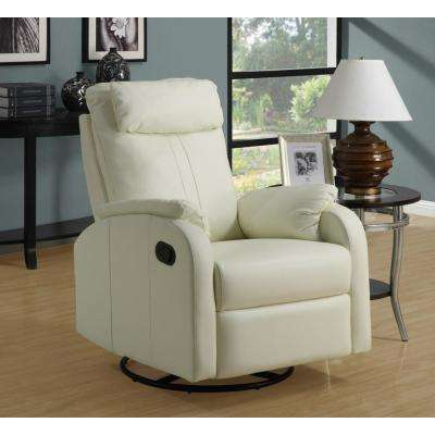 Ivory Bonded Leather Swivel Recliner