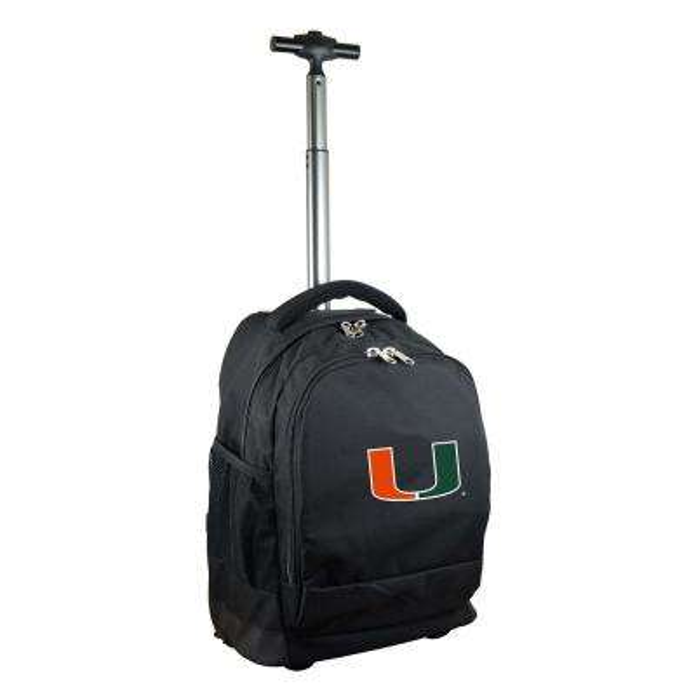 NCAA Miami 19 in. Black Wheeled Premium Backpack