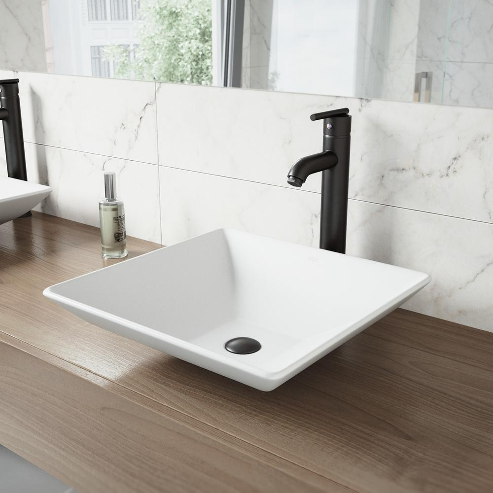 VIGO Hibiscus Matte Stone Vessel Sink and Seville Bathroom Vessel ...