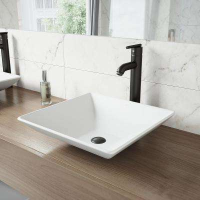 Hibiscus White Matte Stone Vessel Bathroom Sink and Seville Bathroom Vessel Faucet in Matte Black