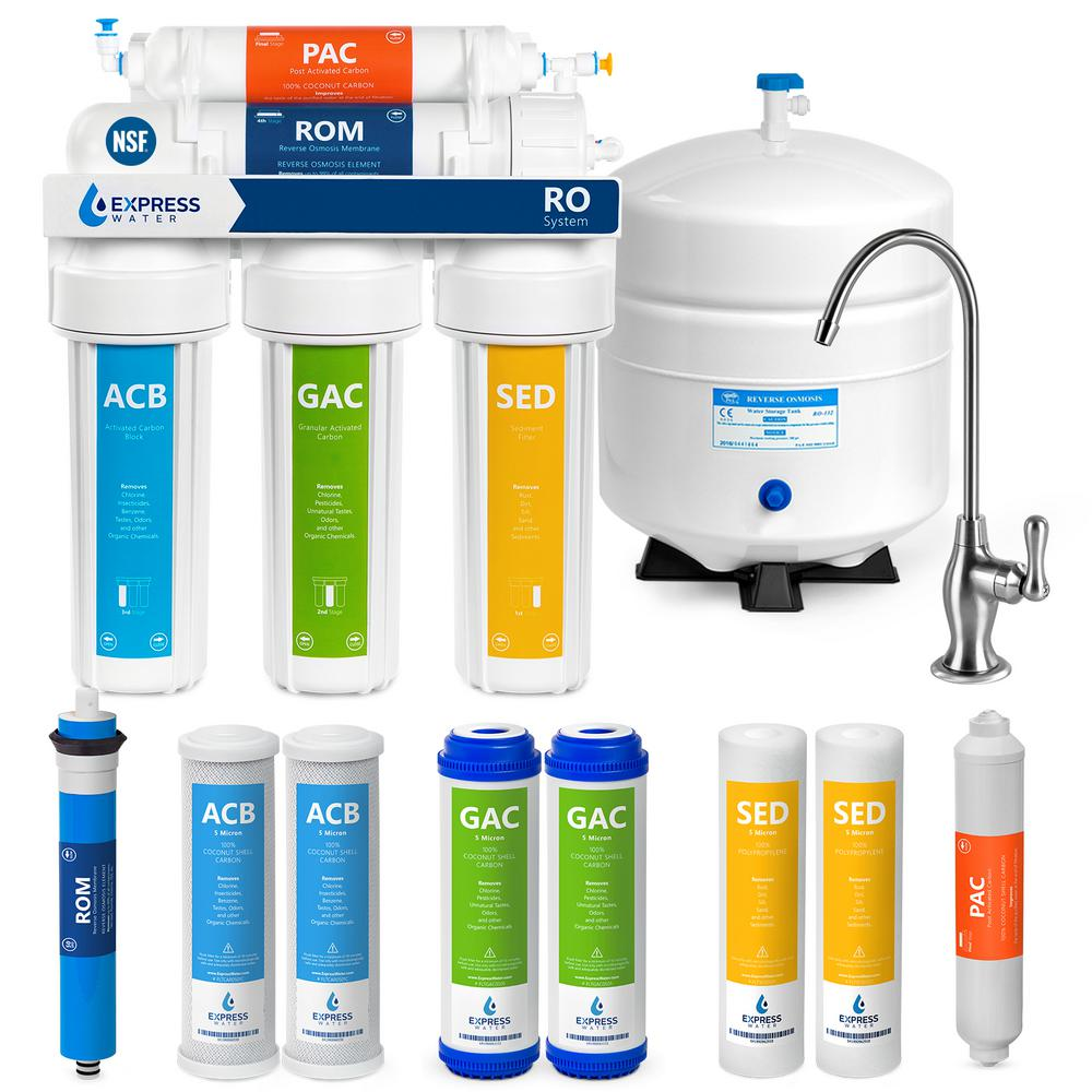 Express Water Under Sink Reverse Osmosis Water Filtration System - NSF Certified RO w/ Faucet & Tank - 4 Replacement Filters - 50 GPD