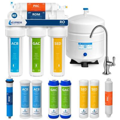 Express Water Reverse Osmosis 5 Stage Water Filtration System – NSF Certified – Faucet, Tank and 4 Filters – 50 GPD