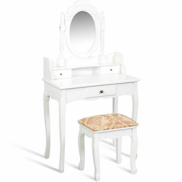2-Piece White Vanity Dressing Table Jewelry Makeup Desk Set with Stool 3-Drawer Christmas Gift