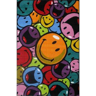 Smiley Smiles and Laughs Multi Colored 39 in. x 58 in. Area Rug