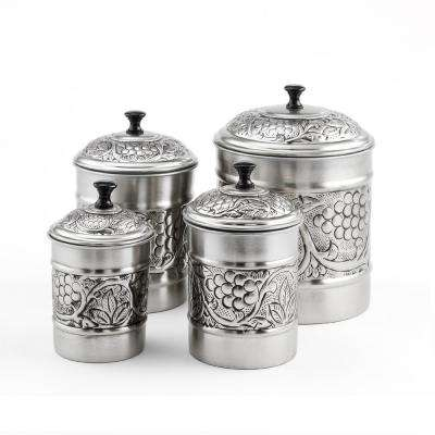 "4-Piece Antique Pewter Embossed ""Heritage"" Canister Set"