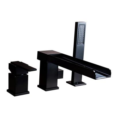 Waterfall Single-Handle Deck-Mount Roman Tub Faucet with Hand Shower in Matte Black
