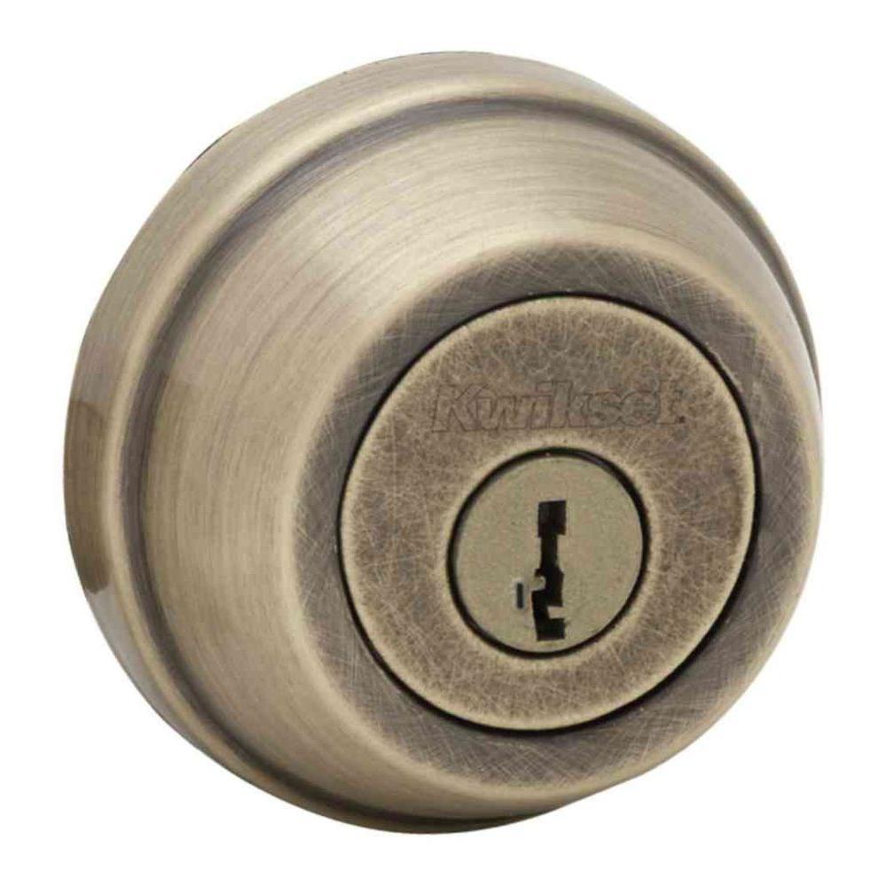 Kwikset 780 Series Antique Brass Single Cylinder Deadbolt Featuring SmartKey Security