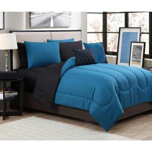 7 Piece Solid Teal Black Twin Bed In A Bag Set