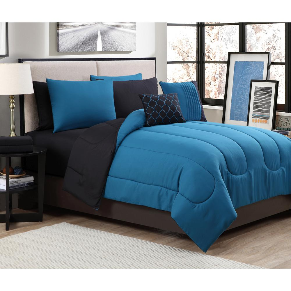 Geneva home fashion solid 9 piece teal black queen bed in a bag sol9pcquenghtl the home depot