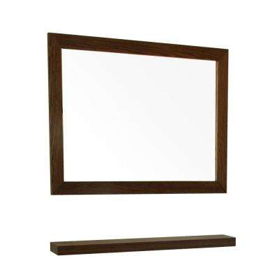 L X 32 In W Wall Mirror Dark Walnut