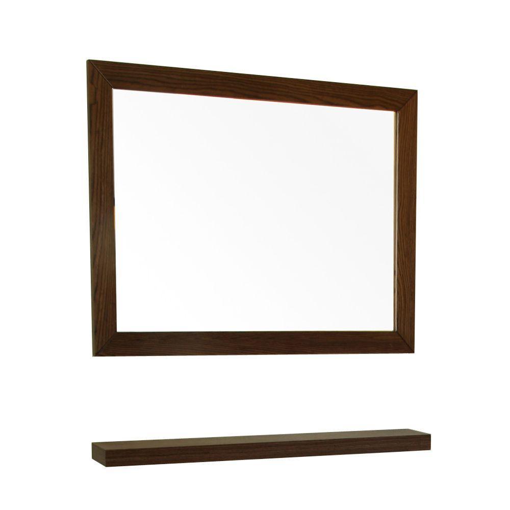 Norwoodville 24 in. L x 32 in W Wall Mirror in Dark Walnut