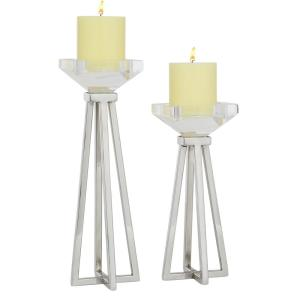12.75 in. and 9.90 in. Silver Metal and Acrylic Candleholders Pillars (Set of 2)