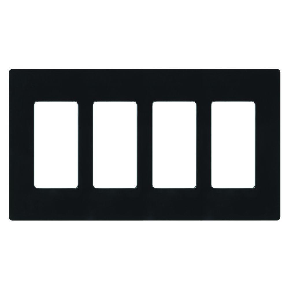 Claro 4 Gang Decorator/Rocker Wallplate, Gloss, Black (1-Pack)