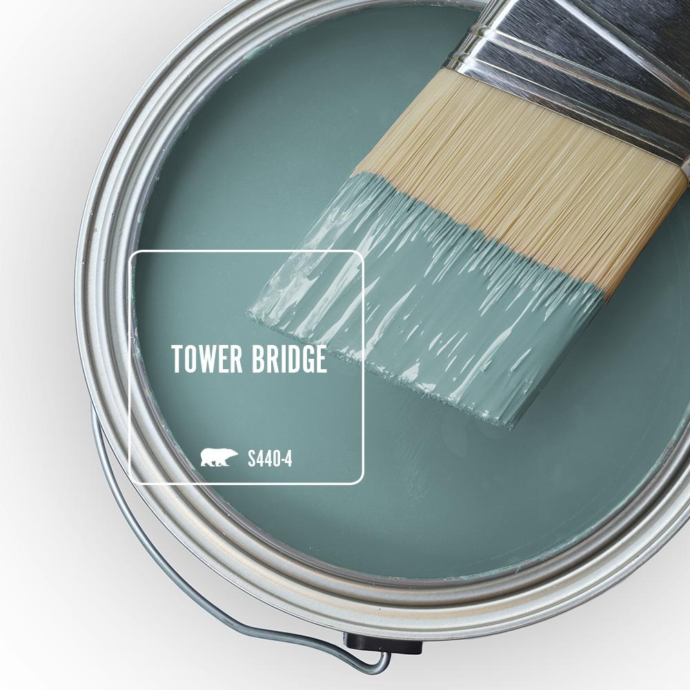 BEHR Tower Bridge blue green paint color. #towerbridge #behrtowerbridge #paintcolors #greenblue