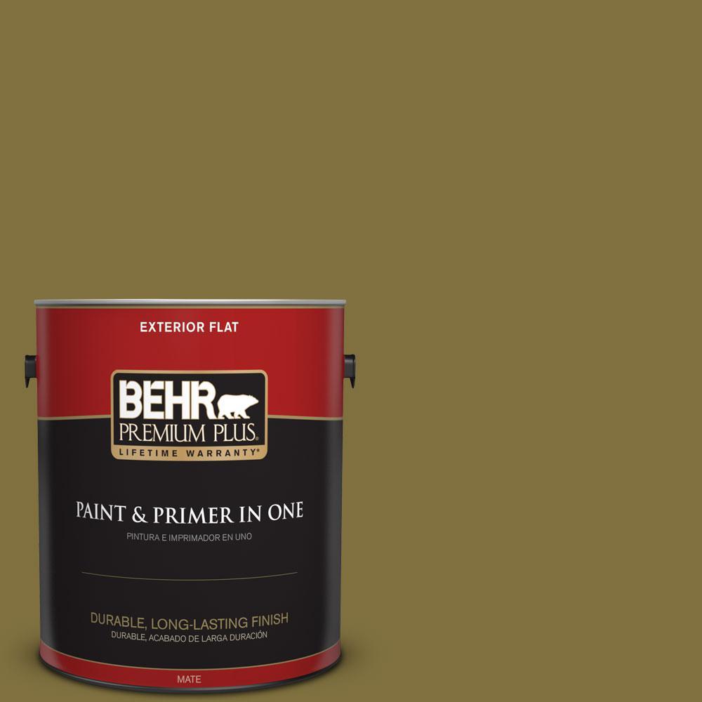 BEHR Premium Plus 1-gal. #S-H-390 Italian Olive Flat Exterior Paint