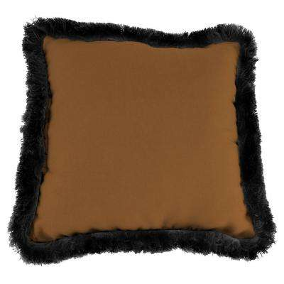 Sunbrella Canvas Teak Square Outdoor Throw Pillow with Black Fringe