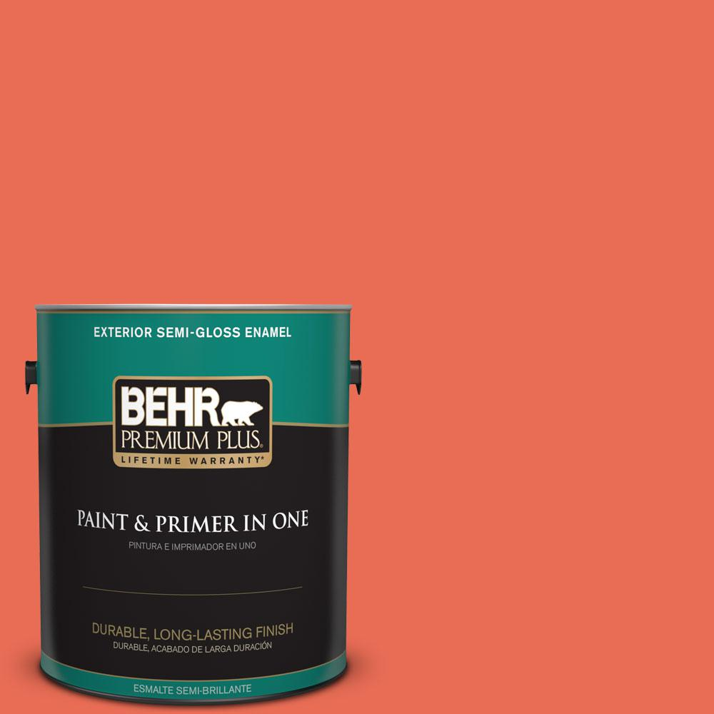 BEHR Premium Plus 1-gal. #190B-6 Wet Coral Semi-Gloss Enamel Exterior Paint