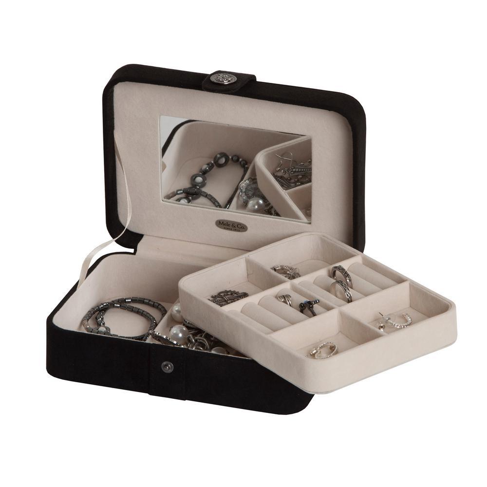 Giana Black Plush Fabric Jewelry Box