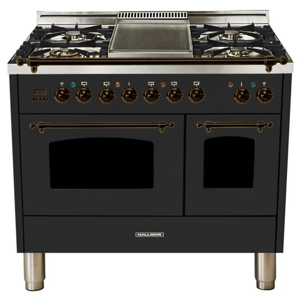 40 in. 4.0 cu. ft. Double Oven Dual Fuel Italian Range True Convection,5 Burners, LP Gas, Bronze Trim/Matte Graphite