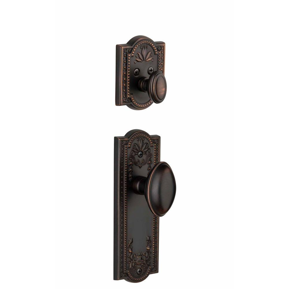 Grandeur Parthenon Single Cylinder Timeless Bronze Combo Pack Keyed Differently with Eden Prairie Knob and Matching Deadbolt