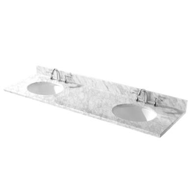 72 in. W Natural Marble Double Vanity Top in White on White with Backsplash