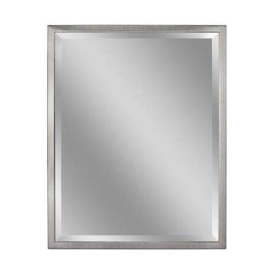 30 in. W x 40 in. H Classic 1 in. W Metal Frame Wall Mirror in Brush Nickel