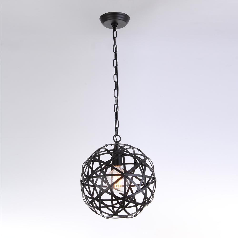 Warehouse Of Tiffany Lindrac 1 Light Black Globe Pendant P18211l The Home Depot