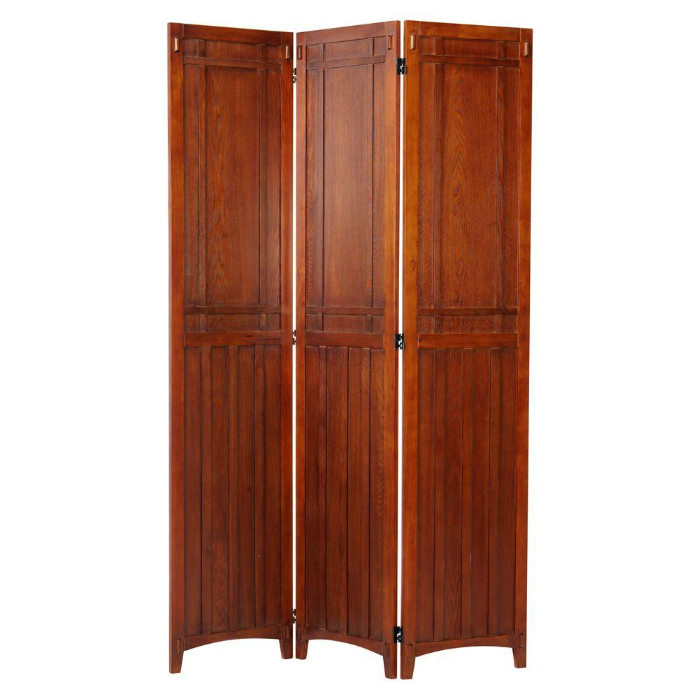 Home Decorators Collection Artisan Light Oak Rustic 3-Panel Folding Screen
