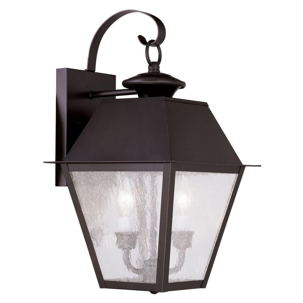 Providence Wall-Mount 2-Light Bronze Outdoor Incandescent Lantern