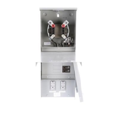 Temporary Power Outlet Panel with Two 20 Amp Duplex Receptacles Top Fed Ringless Meter Socket