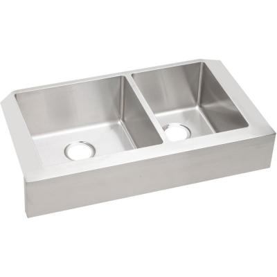 Crosstown Farmhouse/Apron-Front Stainless Steel 32 in. Double Bowl Kitchen Sink