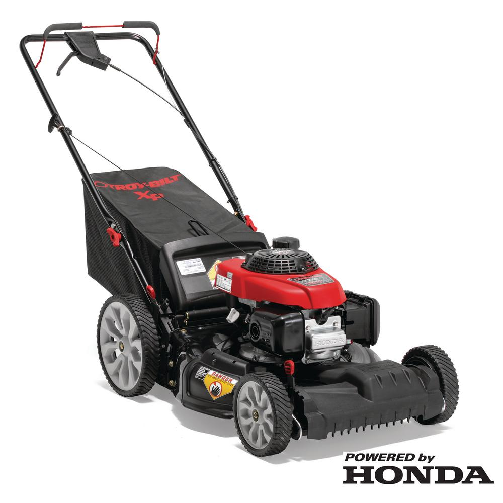 Troy Bilt Xp 21 In 160 Cc Honda Gas Walk Behind Self Propelled Lawn Mower With High Rear Wheels 3 In 1 Triaction Cutting System Tb270 Xp The Home Depot