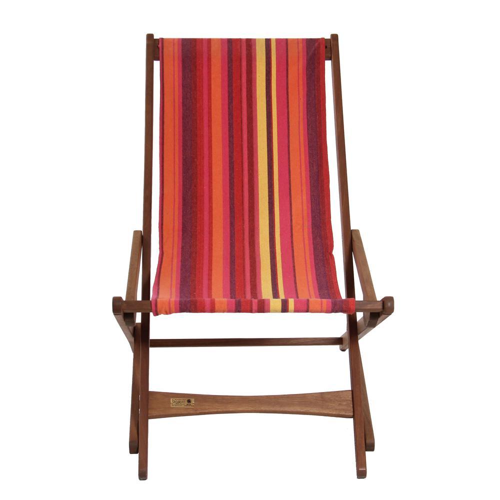 Multi-Stripe Keruing Wood Folding Sling Chair