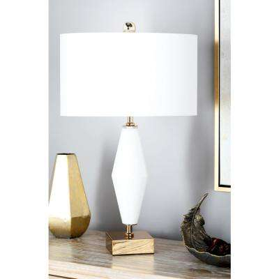 31 in. White Tapered Vase-Shaped Table Lamp
