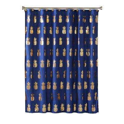 Gilded Pineapple 72 in. L Blue Shower Curtain
