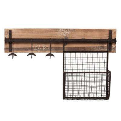 Distressed Fir Wall Mounted Coat Rack