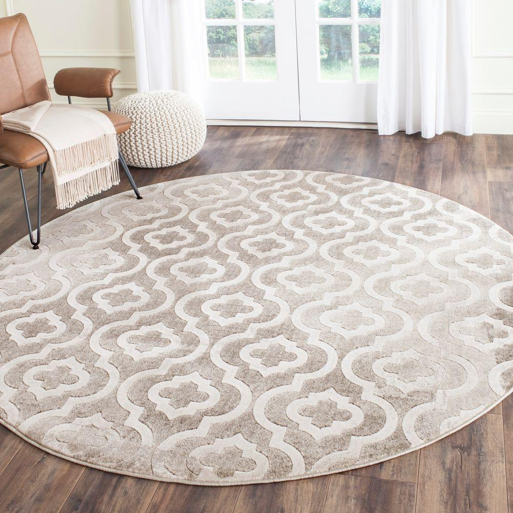 Safavieh Porcello Grey Ivory 7 Ft X 7 Ft Round Area Rug
