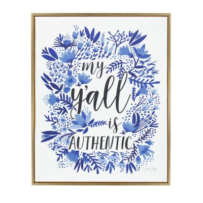 """Sylvie """"My Y'all Is Authentic"""" by Cat Coquillette Framed Canvas Wall Art"""