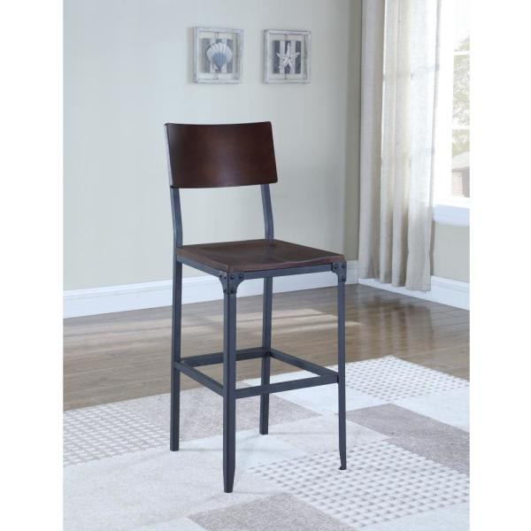 American Woodcrafters Austin 24 in. Matte Black Industrial Style Counter Stool