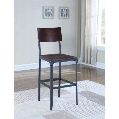 Austin 29 in. Matte Black Industrial Style Bar Stool