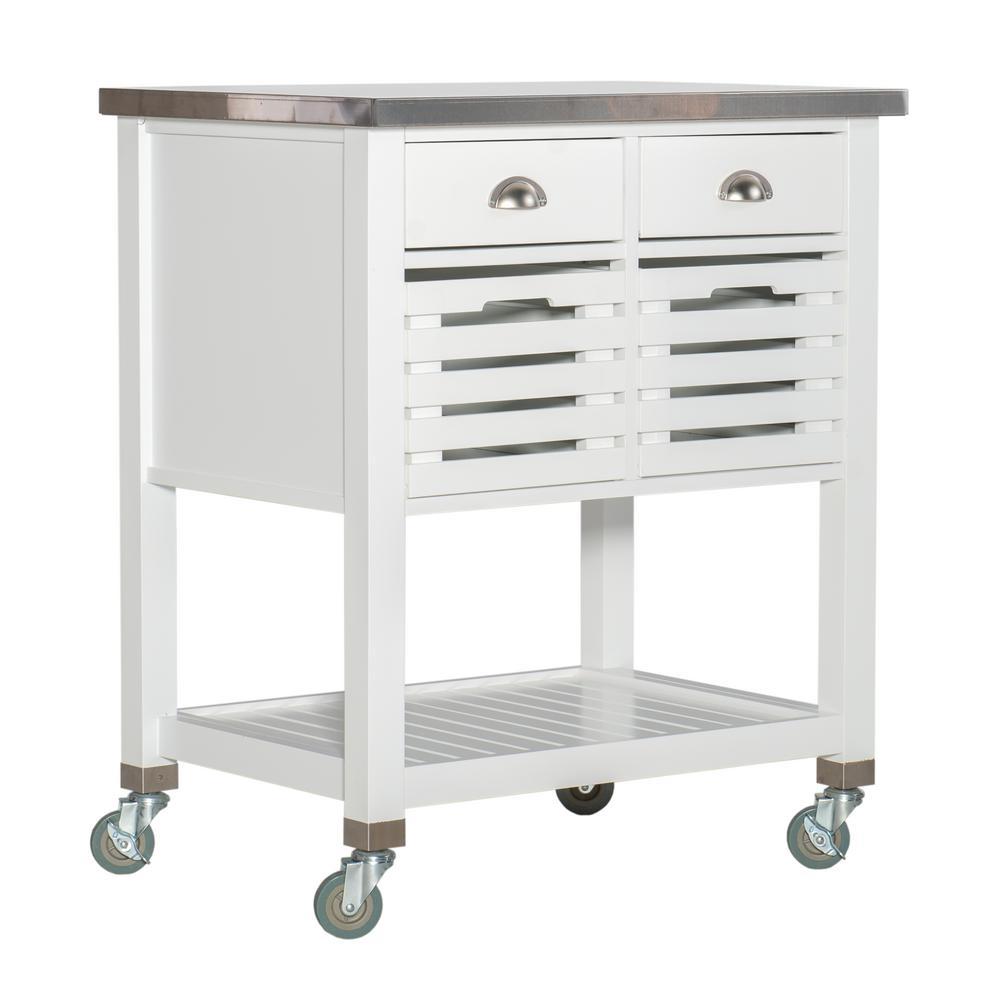 Lauretta White Kitchen Cart